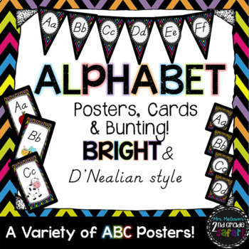 BRIGHT Alphabet Posters, Cards, & Bunting Set {D' Nealian style}
