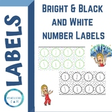 BRIGHT & BLACK AND WHITE NUMBERS LABELS