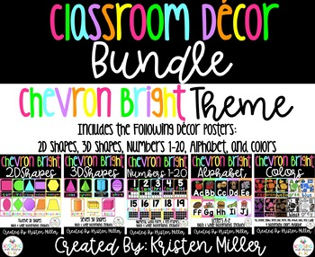 BRIGHT CHEVRON THEME Classroom Decor Posters Bundle