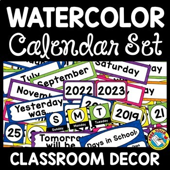 BRIGHT CLASSROOM DECOR WATERCOLOR CALENDAR SET TODAY YESTERDAY TOMORROW