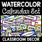 BRIGHT CLASSROOM DECOR WATERCOLOR CALENDAR SET TODAY YESTE