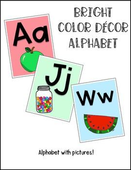 BRIGHT COLOR DECOR ALPHABET CARDS