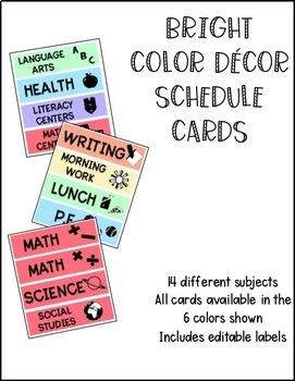 BRIGHT COLOR DECOR SCHEDULE CARDS