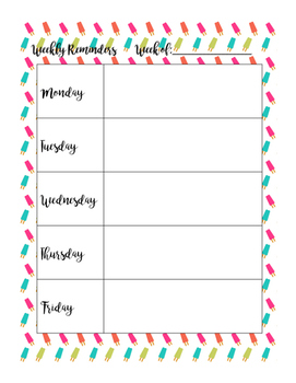 BRIGHT COLORED Printable Weekly Reminder Pages