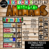 BRIGHT COLORS SHIPLAP WOODLAND ANIMALS TEAM JOBS EDITABLE