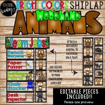 BRIGHT COLORS SHIPLAP WOODLAND ANIMALS TEAM JOBS EDITABLE