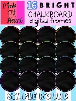 BRIGHT, Chalkboard Digital Frames (Simple Round)