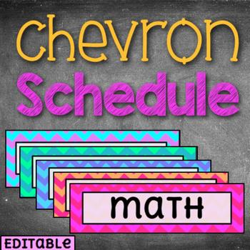 BRIGHT Chevron /// 100+ /// Daily Schedule Cards Editable