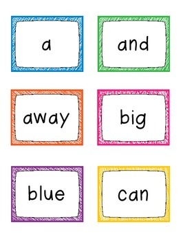 BRIGHT Colors Dolch Word Wall Cards