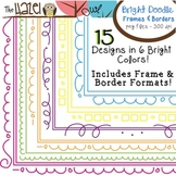 BRIGHT Doodle Frames & Borders Set {180 Files!}: Graphics for Teachers