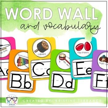 BRIGHT & EDITABLE Music Word Wall
