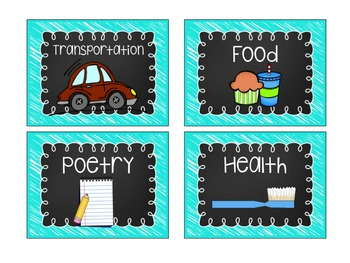 BRIGHT: Editable Blue Library Labels