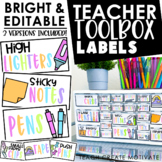 Teacher Toolbox Labels {BRIGHT & Editable}