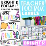 Teacher Toolbox Labels | Editable | Bright