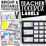 Teacher Toolbox Labels | Editable | Bright