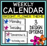 Days of the Week Word Wall Headings, calendar, BRIGHT Flowers theme!