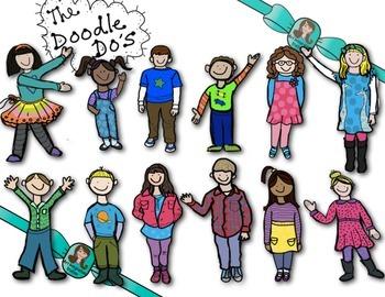 BRIGHT KIDS CLIP ART! *the Doodle Do's*