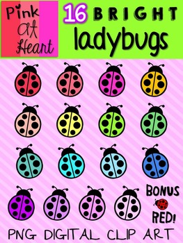BRIGHT Ladybugs Clip Art