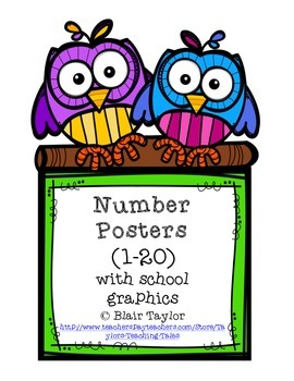 BRIGHT Number Posters (1-20) using school-related graphics