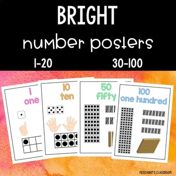 BRIGHT Number Posters {dice, fingers, tens frame, tally marks, MAB}