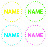 BRIGHT POLKA DOT Circle Labels