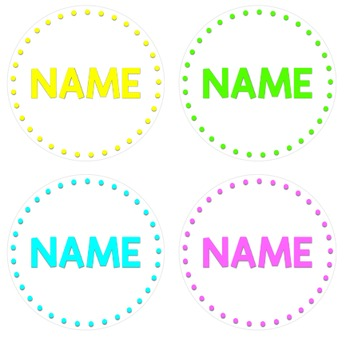 BRIGHT POLKA DOT Circle Labels