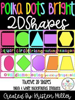 BRIGHT POLKA DOT THEME Classroom Decor Posters- 2D Shapes