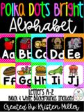 BRIGHT POLKA DOT THEME Classroom Decor Posters- Alphabet