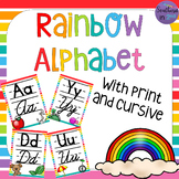 BRIGHT Rainbow Alphabet with Cursive and Print