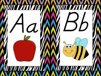 BRIGHT Zebra Alphabet Posters, Cards & Bunting {D' Nealian Style}