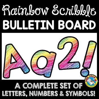 BRIGHTS CLASSROOM DECOR RAINBOW SCRIBBLE BULLETIN BOARD LETTERS PRINTABLE