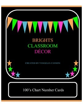 BRIGHTS Classroom Decor, 100's Chart Number Cards