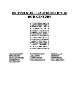BRITISH & IRISH AUTHORS OF THE 19TH CENTURY WORD SEARCH