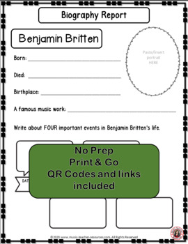 Music Listening: Music Composer BRITTEN: Interactive Listening Journal Foldables