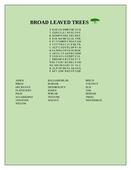 BROAD LEAVED TREES WORD SEARCH