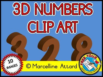 3D NUMBERS CLIPART: BROWN SOLID SHAPES CLIPART NUMBERS: MATH CLIPART