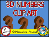 3D NUMBERS CLIPART: BROWN SOLID SHAPES CLIPART NUMBERS: MA
