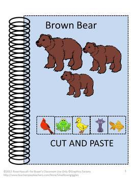 Brown Bear Brown Bear Book Thematic Unit Math & Literacy Cut & Paste Worksheets
