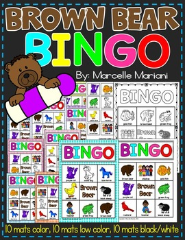 BROWN BEAR LITERACY ACTIVITIES- BINGO AND MATCHING MATS