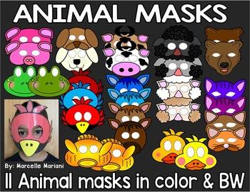 ANIMAL MASKS- 11 ANIMAL MASK ART ACTIVITIES (COLOUR & BW)