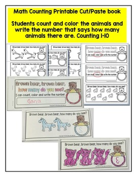 BROWN BEAR MATH CENTER- COUNT AND PIN & PRINTABLE MATH COUNTING BOOK