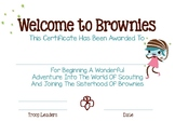 BROWNIE Welcome Certificate