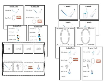 BRUSHING TEETH BUNDLE- visuals/task analyses/sequencing sheets (autism/sped)