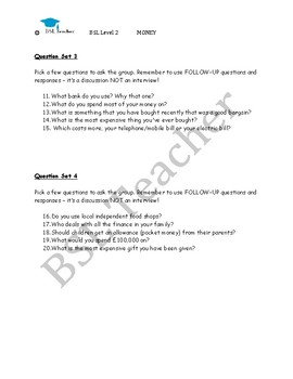 BSL Level 2 Money questions for group discussion