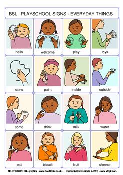 BSL Playschools Signs Poster (British Sign Language)