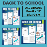 BTS - Back To School BUNDLE - ALL GRADES and GYM / PE - Higher Order Thinking