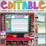 Back to School & Meet the Teacher Editable Digital Info Pack   English & Spanish