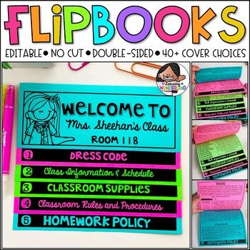 Back to School | Meet the Teacher | Open House (Editable No Cut Flipbook)