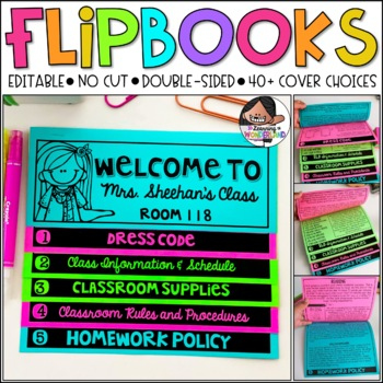 back to school meet the teacher open house editable no cut flipbook