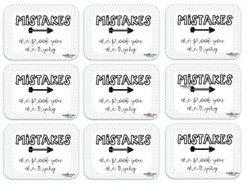 "BTS ""Mistakes are proof you are trying"" eraser gift tags"